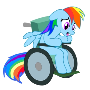 Blue horse with rainbow mane and tail sitting in a wheelchair