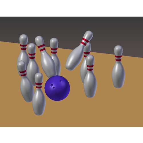 Blue bowling ball knocking over bowling pins