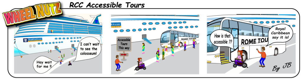 Cartoon strip about false advertising on accessible excursions
