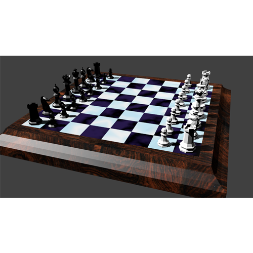 Chess board with all pieces in their starting positions