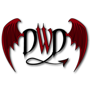 Red devil wings with the letters DWD in between