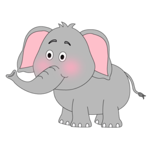 Grey elephant with big pink ears