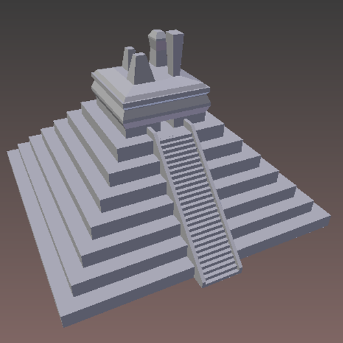 Grey pyramid with steps on one side leading to the top