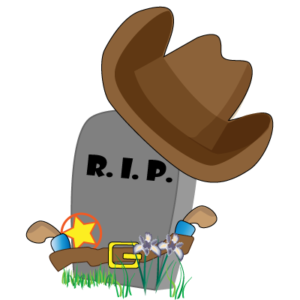 Grave headstone dressed as a cowboy with hat and holster