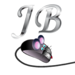 Silver JB letters with a computer mouse underneath with pink ears