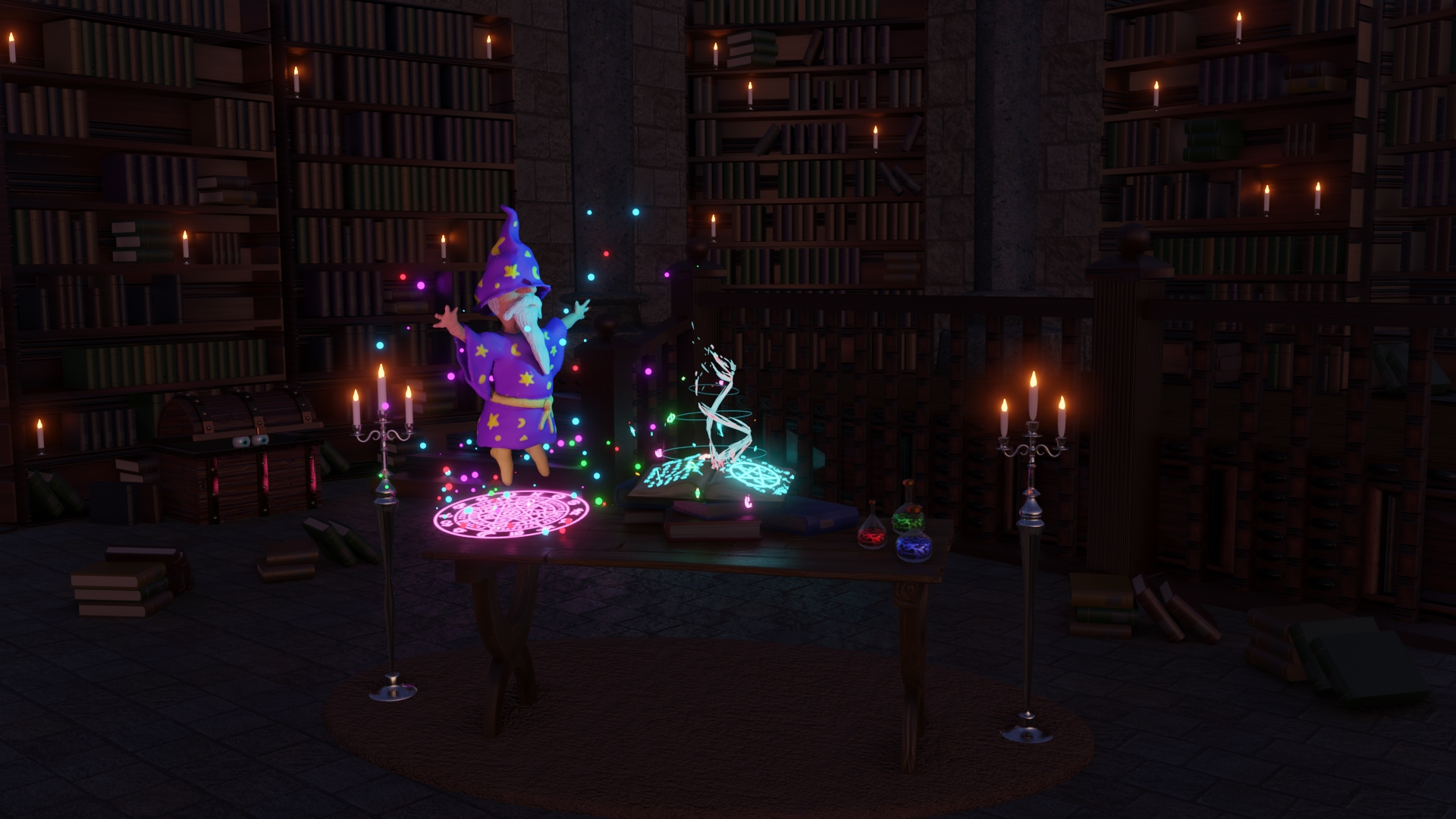 My competition entry - Library scene with a magical element