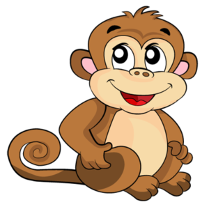 Happy brown monkey sitting on the floor smiling
