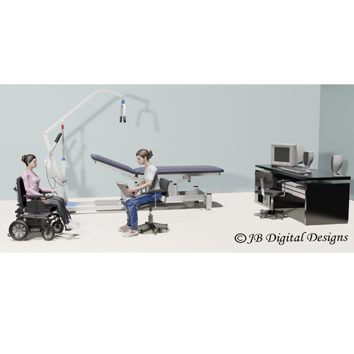 Office scene with a wheelchair user and a clinician