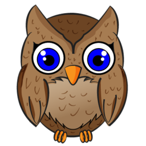 Brown owl with big blue eyes