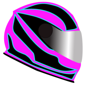 Bikers helmet with pink and black stripes.