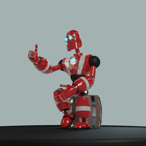 Red and silver robot sitting on a wooden barrel with a thumbs up
