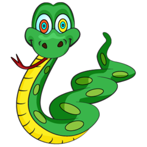 Green and yellow snake with hypnotic swirling eyes while sticking his tongue out