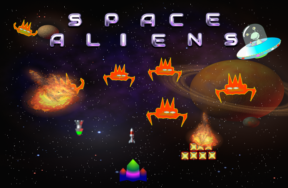 Splash screen for the game Space Aliens