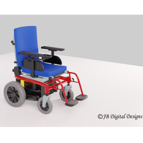 Blue and red wheelchair