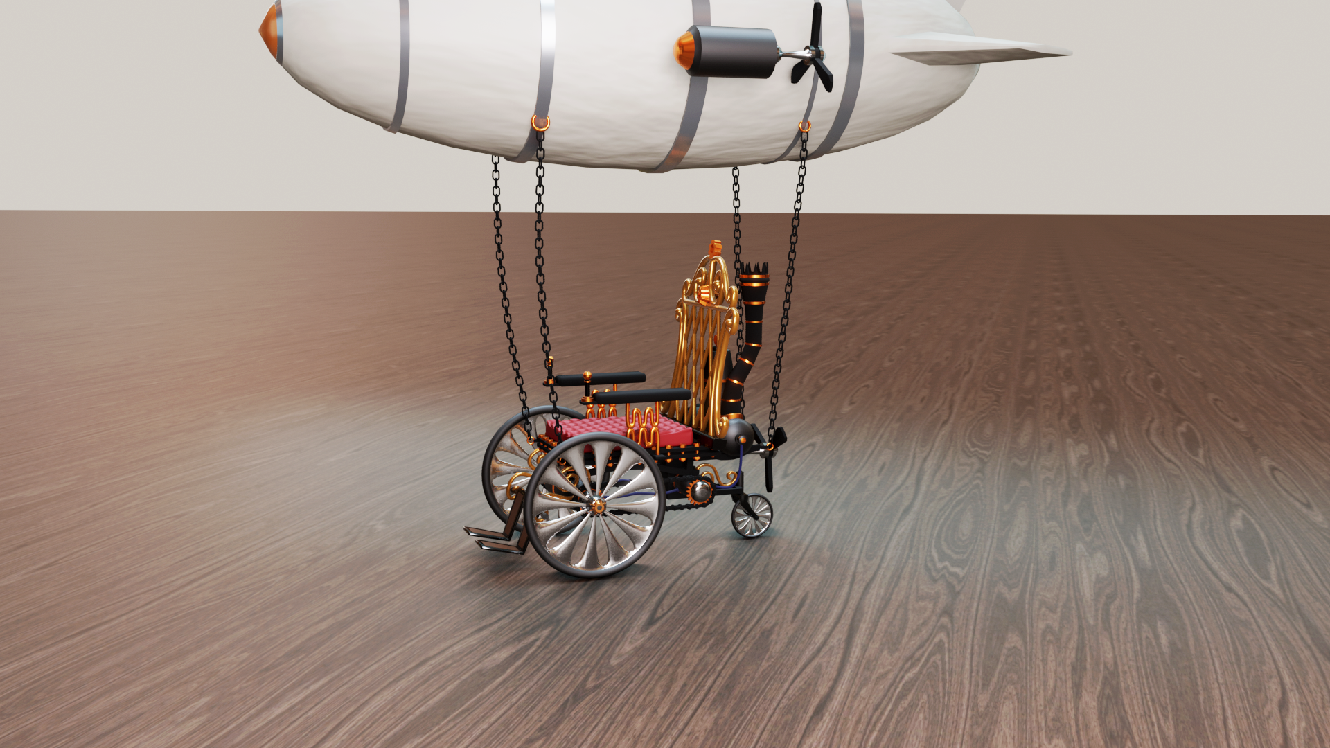 A steampunk wheelchair flying blimp
