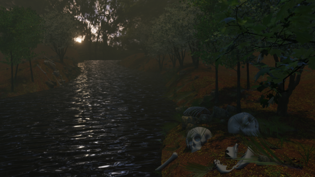 A forest scene with a river and skeletons