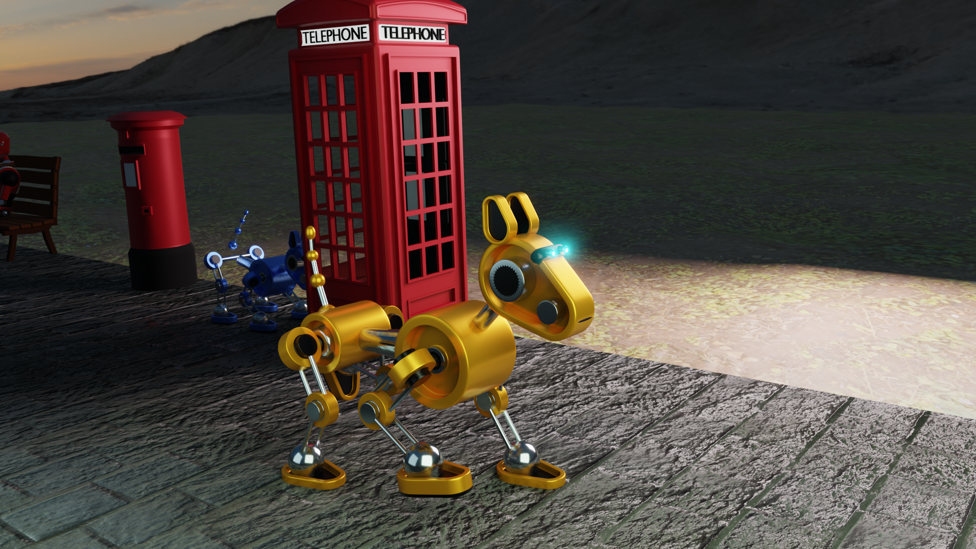 Robot dog in front of a telephone box